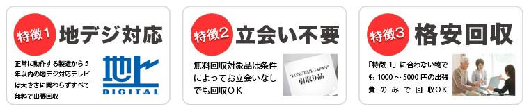川崎市で当社が液晶テレビを無料回収する3つの特徴